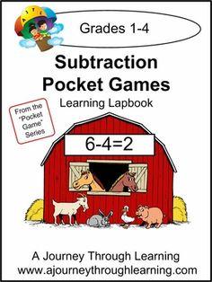 Subtraction Pocket Games Lapbook