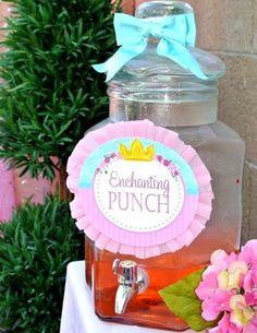 Princess Party - Princess FOOD LABELS - Blue