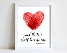 """""""And the Two Shall Become One"""" Print, Wedding Printable, Scripture Quote, DIGITAL DOWNLOAD // by DesignLifeStudio"""
