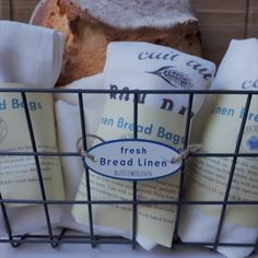 WHOLESALE ONLY retail display containing 50 bread bags with display basket Bakery Display, Bread Bags, Paper Packaging, Linen Bag, Host A Party, Etsy Seller, Basket, Retail