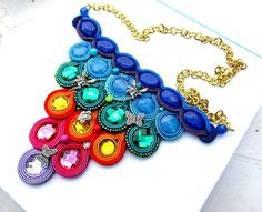 Modern Soutache Bib Necklace Rainbow Colorful Jewelry Charm Glamour  Multicolor Handmade Neklace Handmade Colorful Embroidery Soutache