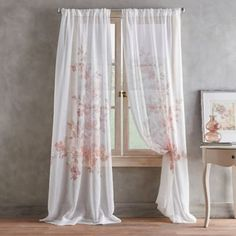 Brighten up your window with the Roxy Rod Pocket Window Curtain Panel. Flaunting unique embellishments in an array of fashionable colors, the sheer panel brings beauty to your view while creating a light and airy ambiance in any room. Shabby Chic Rose Curtains, Pink Sheer Curtains, Sheer Curtain Panels, Drapery Rods, Lace Curtains, Curtains For Sale, Grommet Curtains, Colorful Curtains, Window Curtains