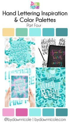 Hand Lettering Inspiration: Part Four. I'm sharing all my lettering challenge work from this month, along with some lettering tips and my color palettes! Type Illustration, Floral Illustrations, Botanical Illustration, Brush Lettering, Hand Lettering, April Challenge, Graphic Design Fonts, Color Schemes, Color Combinations