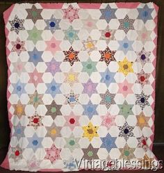 """$88 Handpieced Vintage 30s Touching Stars QUILT TOP 86"""" x 77""""www.Vintageblessings.com"""
