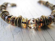 Chunky Bohemian Czech Glass Bracelet Golden Antique by DarkRide, $34.00