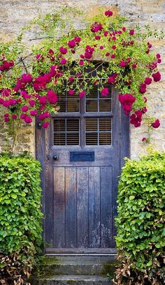 Loving the doors that have wild flowers/roses growing around them~ Grand Entrance, Entrance Doors, Doorway, Front Doors, Sliding Doors, Cool Doors, Unique Doors, Fachada Colonial, When One Door Closes