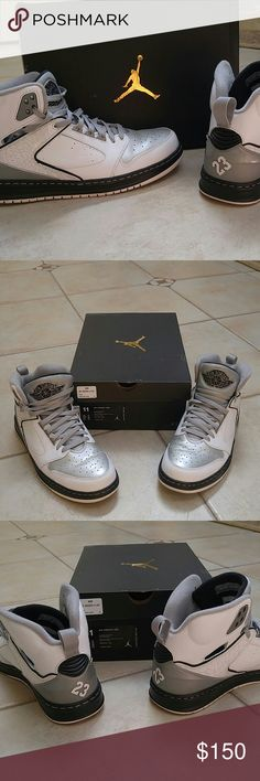 |NIB| MEN'S AIR JORDANS SIZE 11 NEW in box, air jordans. Men's size 11. Gray, black and white color, 23 stamped on back of both sneakers. Gray laces, cushioned, padded, leather and patent leather. Worn once but too big on my boyfriend. Comes in box. Jordan Shoes Sneakers