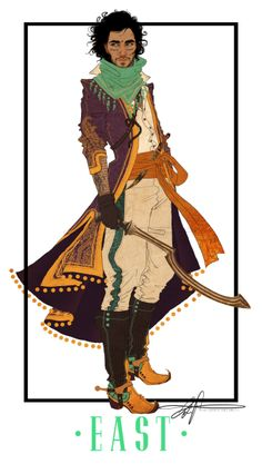 Fantasy poc artwork, man with scythe in ling coat and boots. Art by Paige Carpenter