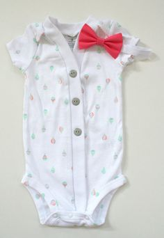 Baby Cardigan and Hair Bow Set Hot Air Balloon by BarberShoppe