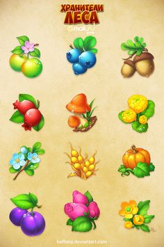Forestkeepers icons pack 1 by Beffana Farm Games, 2d Game Art, Digital Texture, Game Props, Game Interface, Cartoon Background, Mobile Art, Food Icons, Game Concept Art