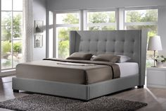 Amazon.com: Baxton Studio BBT6386-King-Grey-DE800 (B-62) Favela Linen Modern Bed with Upholstered Headboard, King, Grey: Home & Kitchen