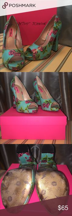 "Betsey Johnson Tin Can Rose heels Worn once and in excellent condition. Comes with box. 5"" heel. No trades Betsey Johnson Shoes Heels"