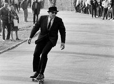 suit + skateboard