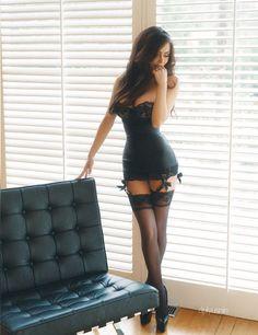 Brunette in tight lingerie