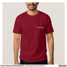 Heart Disease Butterfly Awareness Ribbon T-Shirt