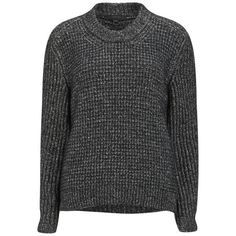 Belstaff Women's Rorrington Chunky Knit Boxy Jumper - Black ($400) ❤ liked on Polyvore featuring tops, sweaters, jumpers, black, black chunky sweater, black sweater, raglan sweater, black crew neck sweater and chunky knit sweater