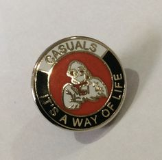 """Casuals """"It's a way of life""""Red / mms Push Back Fastener Football Casuals, A Way Of Life, Vintage Fashion, Vintage Style, Red And White, Black, Manchester United, Class Ring, Badge"""