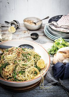 baby pea asparagus and kale spaghetti with crunchy macadamia and bread crumb pangrattato
