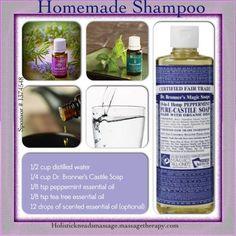 Homemade Shampoo with your oils. I like to add rosemary, cedarwood and Ylang ylang to mine.