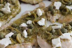 quick, recipe, food, glutenfree, gluten free, protein, healthy, lunch, dinner, chicken, feta, pesto, capers