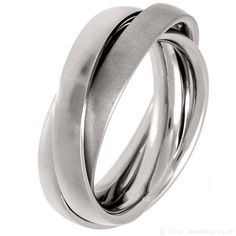1 Brushed 2 Polished Titanium Russian Wedding Ring