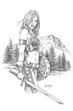Athala, Barbarian Warrior, in Mitch Foust's SOLD Comic Art Gallery Room Anime Art Fantasy, Fantasy Art Women, Fantasy Artwork, Barbarian Warrior, Evvi Art, Coloring Books, Adult Coloring Pages, Colouring, Character Art