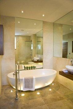 Bathroom : Glamorous Bathroom Design for Your Luxuries Bathing - Small Bathroom Design Ideas With Bowl Bathtub And Cool Floor Lights Modern Bathrooms Interior, Home, Bathroom Makeover, Bathroom Furniture Design, Glamorous Bathroom, Bathroom Design Small, Luxury Bathroom, Bathroom Design, Beautiful Bathrooms