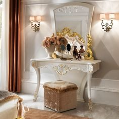 Elegant White and Gold Leaf Dressing Table And Mirror Set at Juliettes Interiors - Chelsea, London.