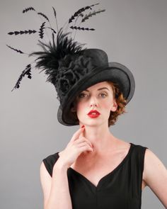 Kelly, black, parisisal crown & sinamay brim hat with silk cabbage rose, feathers & horsehair edge