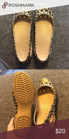 Women's cheetah crocs Perfect condition, only worn a couple times! Super comfy! CROCS Shoes
