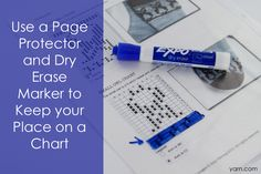 Good Idea: Keep your Place on a crochet or cross-stitch chart with a Dry Erase Marker & Page Protector