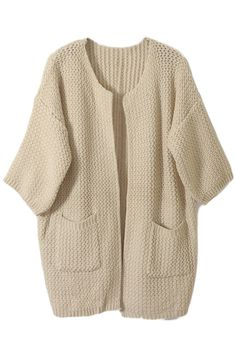 ROMWE | Asymmetric Cable Knit Beige Cardigan, The Latest Street Fashion
