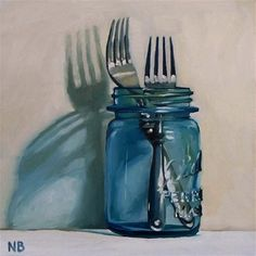 """Two Forks In A Jar"" - Original Fine Art for Sale - © Nora Bergman"