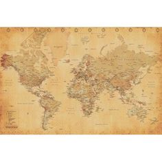 World map pinterest poster wall indiana jones room and worldmap world map antique vintage educational continents globe atlas poster 36x24 inch gumiabroncs Choice Image