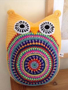 Crocheted owl cushion by Blue Shed Crafts