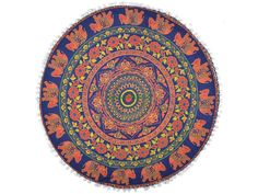 Indian Mandala Floor Cushion Pouffe Pet Bed Cover Ottoman Pouf Cover Floor Bed Round Bohemian Tapestry Cushion Cover Elephant Print - Angie K. Bohemian Bedspread, Bohemian Tapestry, Boho Pillows, Indian Quilt, Floor Cushions, Pillow Shams, Pillow Covers, Indian Mandala, Elephant Print