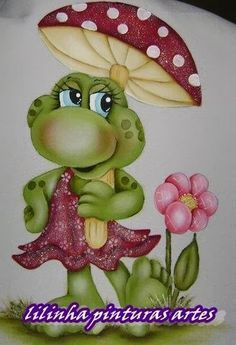 Pinturas tiradas da net artesã Lilinha Silva ... Art Drawings For Kids, Cartoon Drawings, Art For Kids, Tole Painting, Fabric Painting, Pictures To Paint, Art Pictures, Farm Cartoon, Frog Illustration