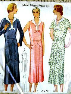 1930s McCall Pattern 6483 //   Vintage Misses' Art Deco Dress with Unique Hip Drape  //  Size 18..bust 36 UNCUT & Factory Folded di anne8865 su Etsy https://www.etsy.com/it/listing/212751202/1930s-mccall-pattern-6483-vintage-misses