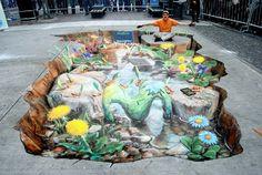 3D Sidewalk Chalk Art: 4 of the World's Most Talented Street Artists | DeMilked