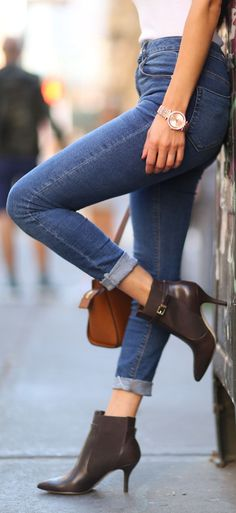 Brown Pointy Ankle Boots Fall Inspo by Negin Mirsalehi