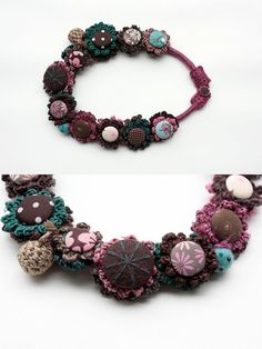 fiber necklace crochet embroidered by rRradionica