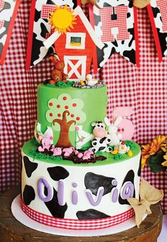 A Farm Animals Birthday Party with a wagon wheel, chocolate strawberry carrots, barn painting, chicken egg hunt + red barn topped pigs' mud puddle cake