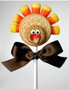 Turkey Oreo Cookie Pop - you can use a chocolate cookie too with mini chocolate Oreo for the head, if nut allergies are a problem.