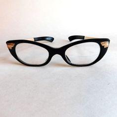 f55c028f633b Vintage Ladies Black Glasses Frames S S Medusa Brand- Made in West Germany  - 125-42-20 Black Modified Cat Eye Style - Goldtone Detailing