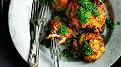 Tandoori chicken with mint and corainder - marinate overnight for best flavour.