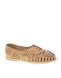 Image 1 of ASOS JET Leather Flat Shoes