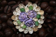 Vintage Sea Shell Brooch Pin Purple Floral  by PeddlersBoutique