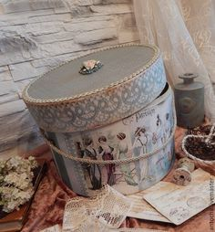 "Baskets, Boxes for handmade.  Fair Masters - handmade.  Buy a Hat Box ""Stealing Beauty.""  Handmade.  Colorful fabrics"