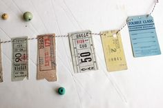 Vintage ephemera inspired paper garland, travel tickets and memorabilia - Sweet Stay At Home. €6,00, via Etsy.