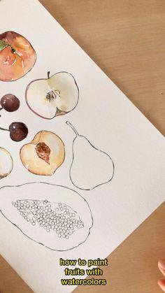 How To Watercolor, Watercolor Art Lessons, Watercolor Fruit, Watercolor Painting Techniques, Fruit Painting, Watercolor Projects, Watercolor Tutorials, Watercolor Drawing, How To Draw Fruit